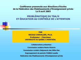 Conf rence prononc e aux directions d  coles de la F d ration des  tablissements d Enseignement priv s Le 8 avril 2003