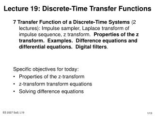 Lecture 19: Discrete-Time Transfer Functions