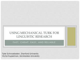 Using Mechanical Turk for linguistic research