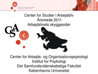 Center for Studier i Arbejdsliv   rsm de 2011 Arbejdslivets skyggesider       Center for Arbejds- og Organisationspsykol