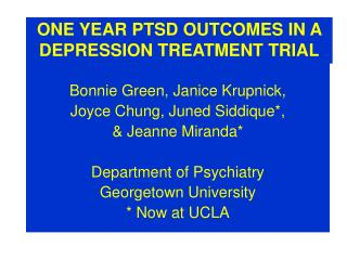 ONE YEAR PTSD OUTCOMES IN A DEPRESSION TREATMENT TRIAL