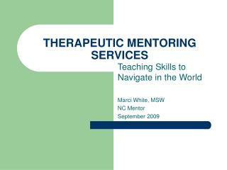THERAPEUTIC MENTORING SERVICES