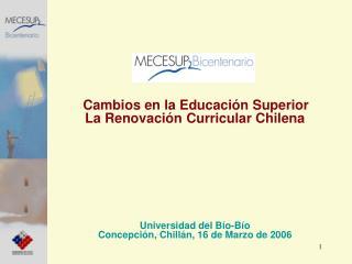 Cambios en la Educaci n Superior   La Renovaci n Curricular Chilena                  Universidad del B o-B o Concepci n,