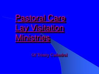 Pastoral Care Lay Visitation Ministries