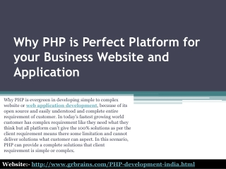 Why PHP is Perfect Platform for your Business WebsiteandApps