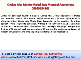 Omkar Group Fresh Launched 09999684166 Alta Monte Malad Mumb