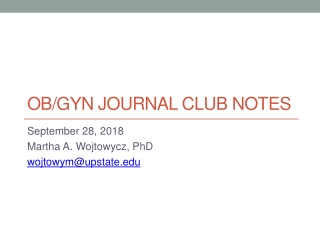 Evidence-Based Medicine Journal Club: Systematic Reviews