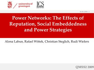 Power Networks: The Effects of Reputation, Social Embeddedness and Power Strategies