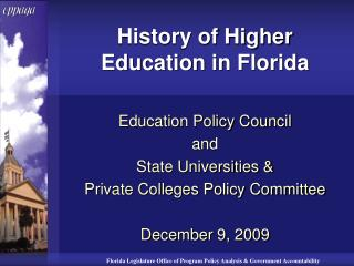 History of Higher Education in Florida