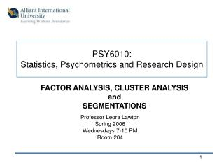 PSY6010:  Statistics, Psychometrics and Research Design