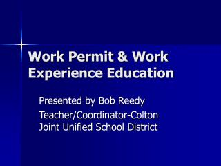 Work Permit  Work Experience Education