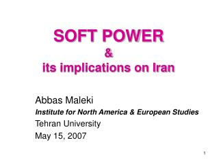 SOFT POWER  its implications on Iran