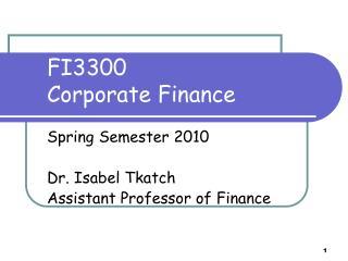 FI3300  Corporate Finance