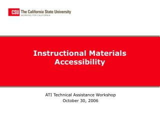 Instructional Materials Accessibility