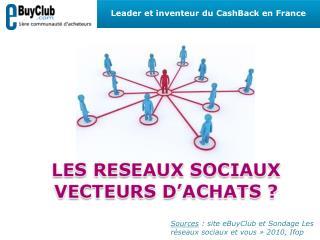 Sources : site eBuyClub et Sondage Les r seaux sociaux et vous   2010, Ifop