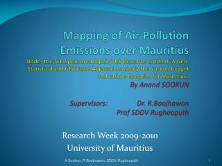 Mapping of Air Pollution Emissions over Mauritius  Under the TEC Sponsored Mphil