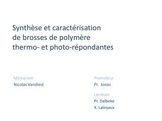 Synth se et caract risation  de brosses de polym re  thermo- et photo-r pondantes