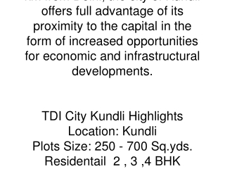 TDI City Kundli!TDI Kundli Sonipat Project (Delhi/NCR, India