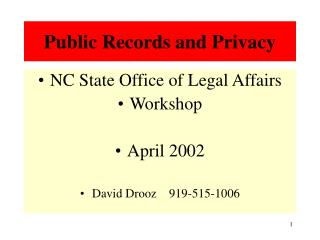 Public Records and Privacy