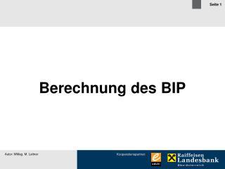 Berechnung des BIP