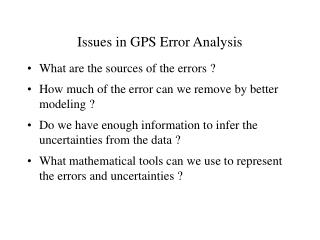 Issues in GPS Error Analysis