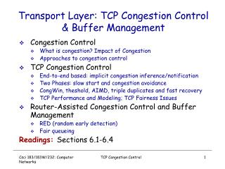 Transport Layer: TCP Congestion Control  Buffer Management