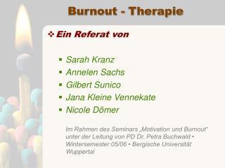 Burnout - Therapie