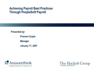 Achieving Payroll Best Practices Through PeopleSoft Payroll