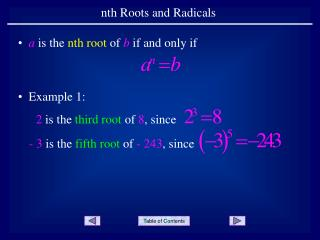 Nth Roots and Radicals