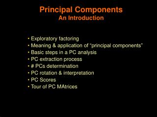 Principal Components An Introduction