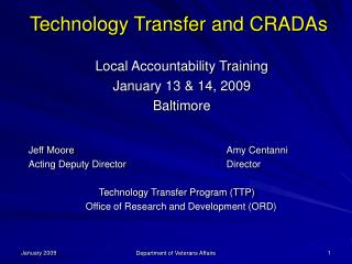 Technology Transfer and CRADAs