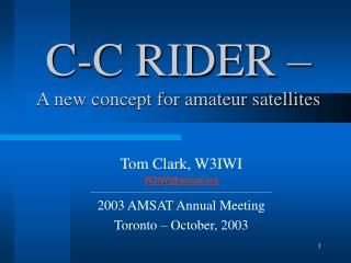 C-C RIDER    A new concept for amateur satellites