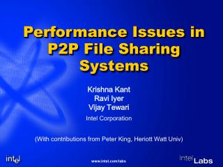Performance Issues in P2P File Sharing Systems