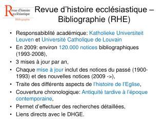 Revue d histoire eccl siastique   Bibliographie RHE