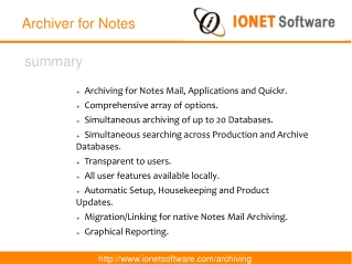 IONET Archiver for Notes