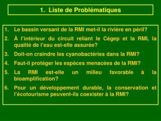 1.  Liste de Probl matiques