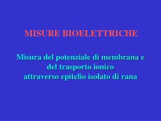 MISURE BIOELETTRICHE