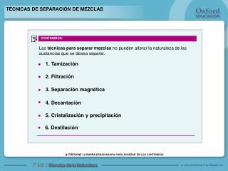 T CNICAS DE SEPARACI N DE MEZCLAS
