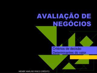 AVALIA  O DE NEG CIOS