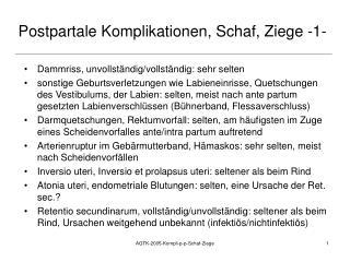 Postpartale Komplikationen, Schaf, Ziege -1-
