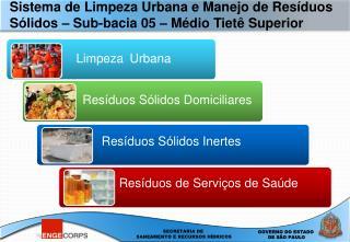 Sistema de Limpeza Urbana e Manejo de Res duos S lidos   Sub-bacia 05   M dio Tiet  Superior