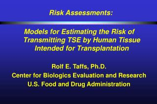 Risk Assessments: