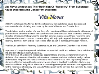 "Vita Novus Announces Their Definition Of ""Recovery"" From Sub"
