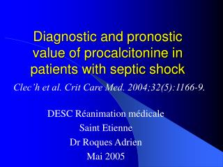 Diagnostic and pronostic value of procalcitonine in patients with septic shock