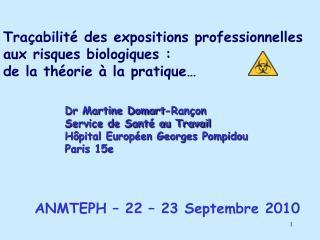 Tra abilit  des expositions professionnelles  aux risques biologiques : de la th orie   la pratique
