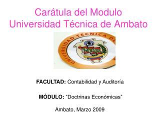 Car tula del Modulo Universidad T cnica de Ambato