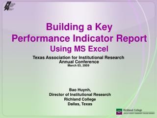 Building a Key  Performance Indicator Report Using MS Excel