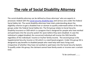 The role of Social Disability Attorney