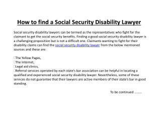 How to find a Social Security Disability Lawyer