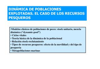DIN MICA DE POBLACIONES EXPLOTADAS. EL CASO DE LOS RECURSOS PESQUEROS